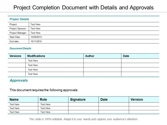 Project Completion Document With Details And Approvals Ppt PowerPoint Presentation Summary Deck