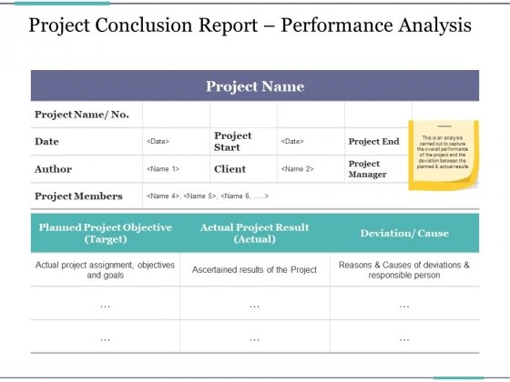 Project Conclusion Report Performance Analysis Ppt PowerPoint Presentation Infographic Template Files