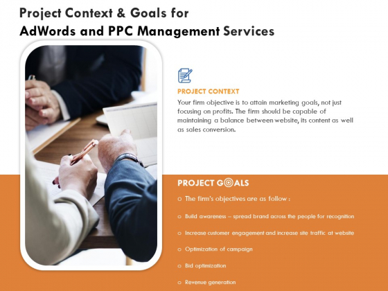 Project Context And Goals For Adwords And PPC Management Services Formats PDF