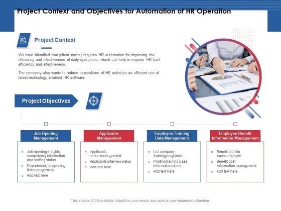 Project Context And Objectives For Automation Of HR Operation Ppt PowerPoint Presentation Pictures Example PDF