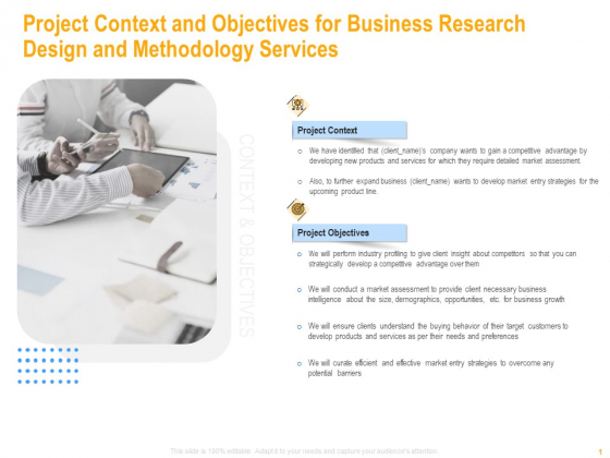 Project Context And Objectives For Business Research Design And Methodology Services Rules PDF