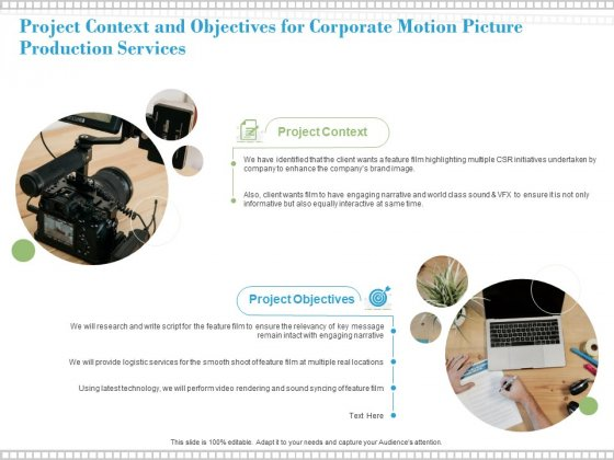 Project Context And Objectives For Corporate Motion Picture Production Services Ppt PowerPoint Presentation Outline Brochure