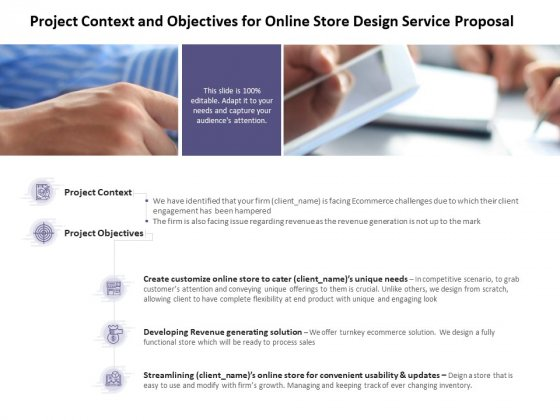 Project Context And Objectives For Online Store Design Service Proposal Ppt PowerPoint Presentation Show Design Inspiration