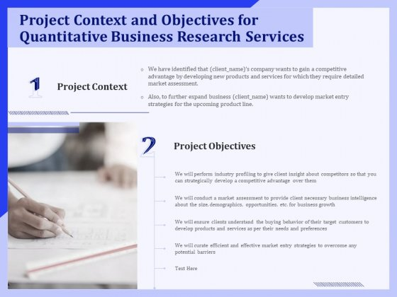Project Context And Objectives For Quantitative Business Research Services Ppt PowerPoint Presentation Background PDF
