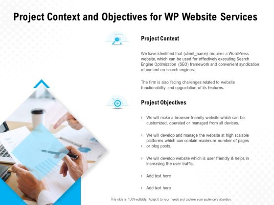 Project Context And Objectives For WP Website Services Ppt PowerPoint Presentation Graphics