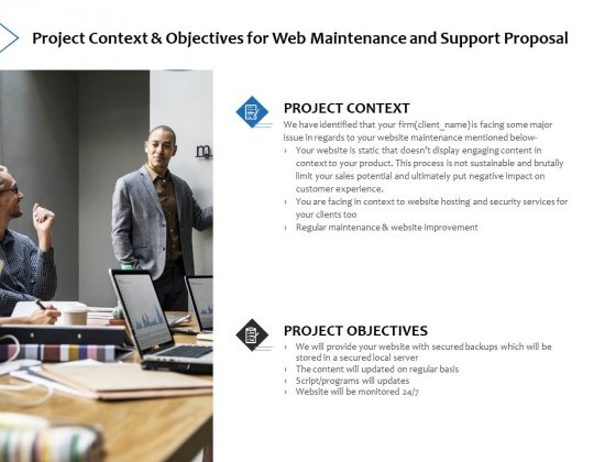 Project Context And Objectives For Web Maintenance And Support Proposal Ppt PowerPoint Presentation Icon Graphics Pictures