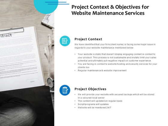 Project Context And Objectives For Website Maintenance Services Ppt PowerPoint Presentation Outline Format Ideas