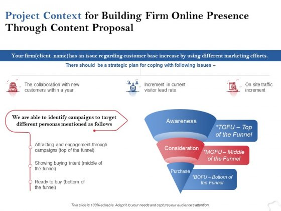 Project Context For Building Firm Online Presence Through Content Proposal Ppt PowerPoint Presentation Show Graphics
