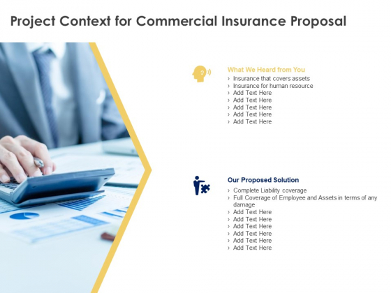 Project Context For Commercial Insurance Proposal Ppt PowerPoint Presentation Visual Aids Inspiration