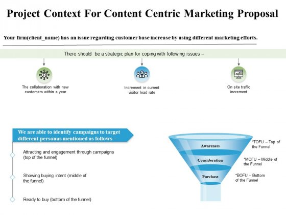 Project Context For Content Centric Marketing Proposal Ppt PowerPoint Presentation Model Ideas