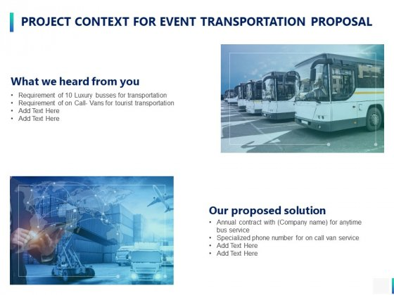 Project Context For Event Transportation Proposal Ppt PowerPoint Presentation Pictures Deck