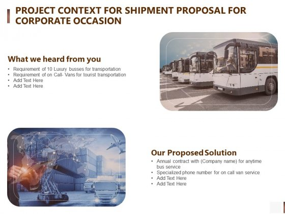 Project Context For Shipment Proposal For Corporate Occasion Elements PDF