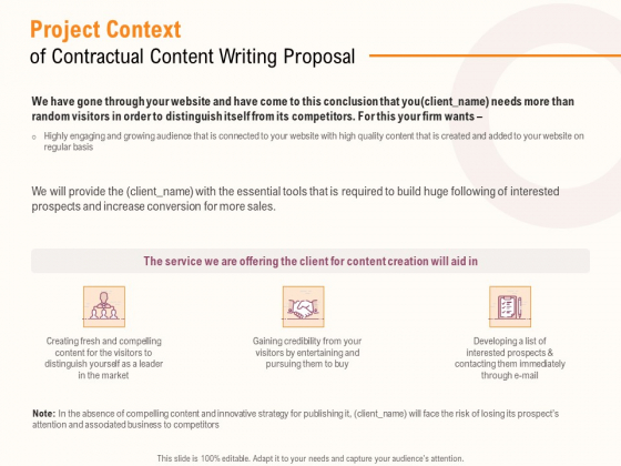 Project_Context_Of_Contractual_Content_Writing_Proposal_Ppt_PowerPoint_Presentation_Model_Display_PDF_Slide_1