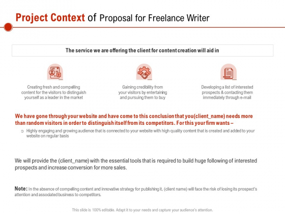 Project Context Of Proposal For Freelance Writer Ppt PowerPoint Presentation Infographic Template Files PDF