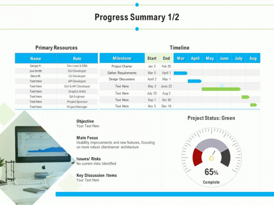 Project Deliverables Outline Progress Summary Design Ppt Pictures Icons PDF