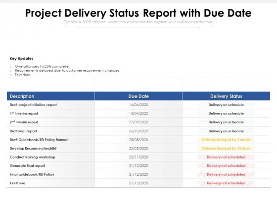 Project_Delivery_Status_Report_With_Due_Date_Ppt_PowerPoint_Presentation_File_Summary_PDF_Slide_1