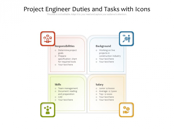 Project Engineer Duties And Tasks With Icons Ppt PowerPoint Presentation Icon Layout Ideas PDF