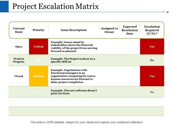 Project Escalation Matrix Ppt PowerPoint Presentation Inspiration Graphics Download
