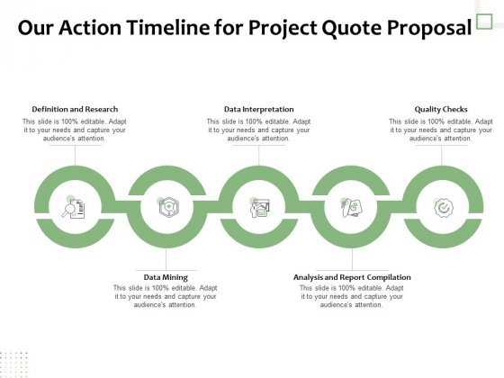 Project Estimate Our Action Timeline For Project Quote Proposal Ppt Inspiration Design Templates PDF
