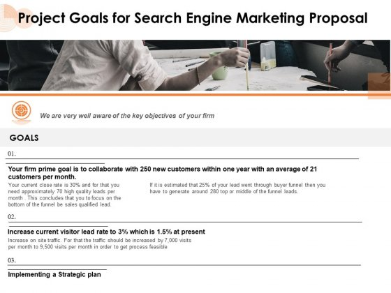 Project Goals For Search Engine Marketing Proposal Ppt PowerPoint Presentation Slides PDF