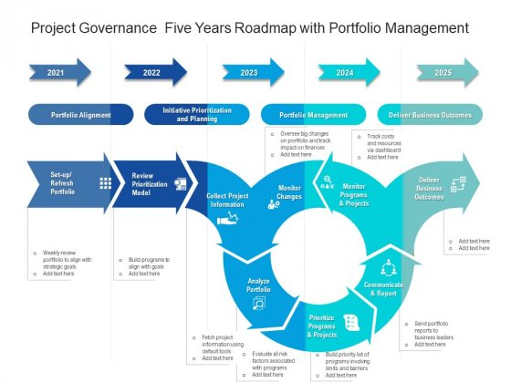 Project Governance Five Years Roadmap With Portfolio Management Themes