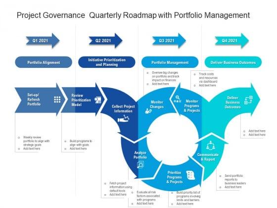 Project Governance Quarterly Roadmap With Portfolio Management Diagrams