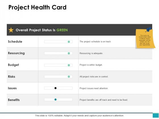Project Health Card Ppt PowerPoint Presentation Clipart