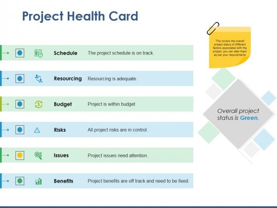 Project Health Card Ppt PowerPoint Presentation File Deck
