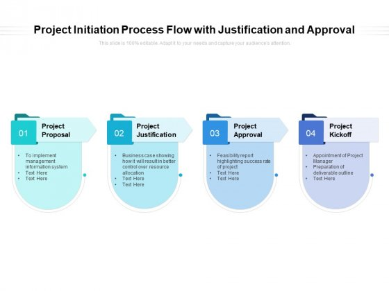 Project Initiation Process Flow With Justification And Approval Ppt PowerPoint Presentation Styles Professional PDF