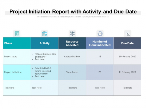 Project Initiation Report With Activity And Due Date Ppt PowerPoint Presentation Layouts Vector PDF