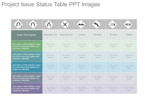 Project Issue Status Table Ppt Images
