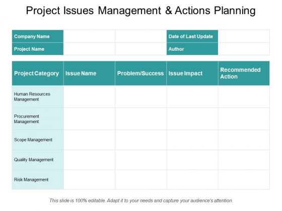 Project Issues Management And Actions Planning Ppt PowerPoint Presentation File Outfit