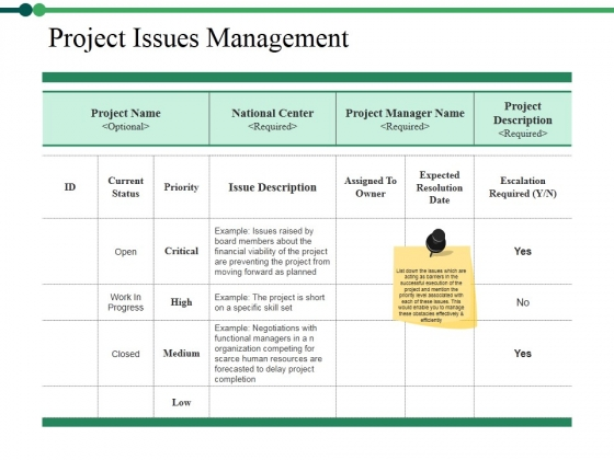 Project Issues Management Ppt PowerPoint Presentation Layouts Backgrounds