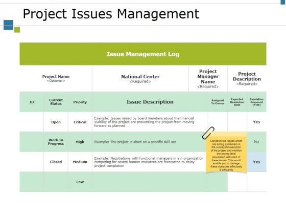 Project Issues Management Ppt PowerPoint Presentation Summary Portfolio