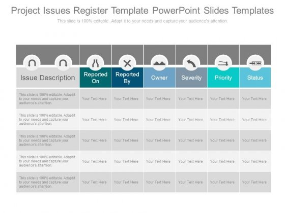Project Issues Register Template Powerpoint Slides Templates