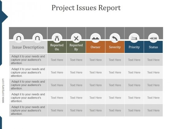 Project Issues Report Ppt PowerPoint Presentation Slide Download