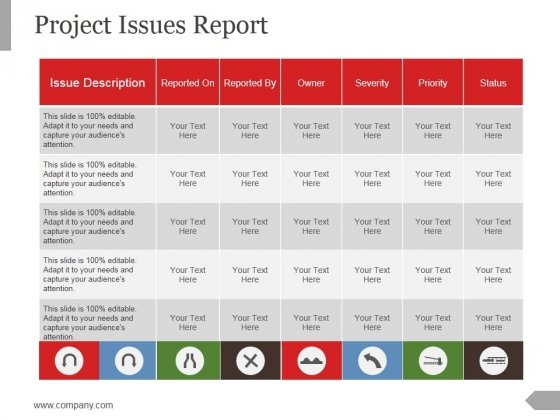 Project Issues Report Ppt PowerPoint Presentation Styles