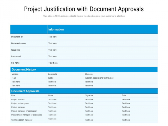 Project Justification With Document Approvals Ppt PowerPoint Presentation Gallery Inspiration PDF