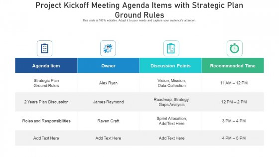Project Kickoff Meeting Agenda Items With Strategic Plan Ground Rules Ppt PowerPoint Presentation File Example File PDF