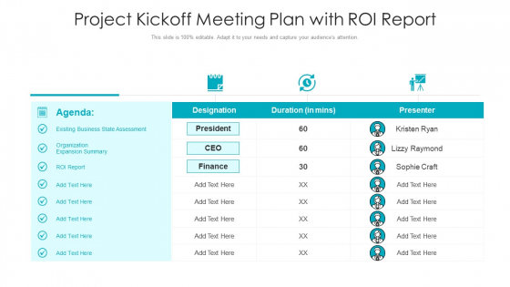 Project Kickoff Meeting Plan With ROI Report Ppt PowerPoint Presentation Gallery Model PDF