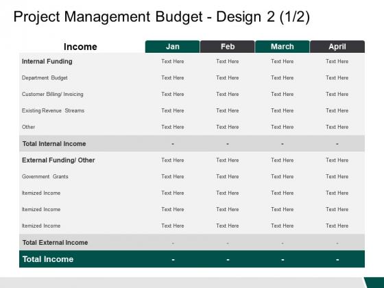 Project Management Budget Design Internal Funding Ppt PowerPoint Presentation Infographics Samples