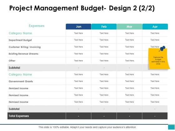 Project Management Budget Design Marketing Ppt PowerPoint Presentation Pictures Ideas