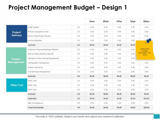 Project Management Budget Design Ppt PowerPoint Presentation Icon Example