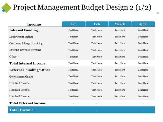 Project Management Budget Design Template 2 Ppt PowerPoint Presentation Infographics Designs Download