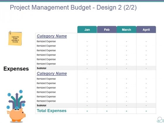 Project Management Budget Design Template  Ppt Powerpoint