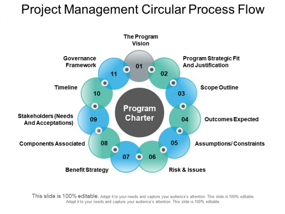 Project Management Circular Process Flow Ppt PowerPoint Presentation Summary Example Introduction
