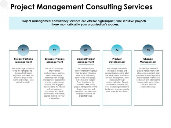 Project Management Consulting Services Ppt PowerPoint Presentation Infographic Template Shapes