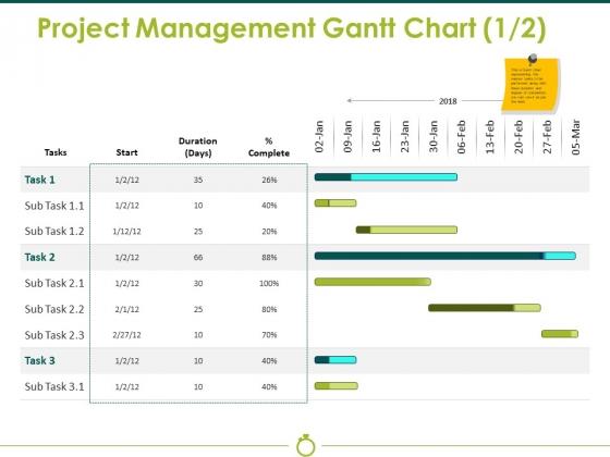 Project Management Gantt Chart Template 1 Ppt PowerPoint Presentation Gallery Graphics Template