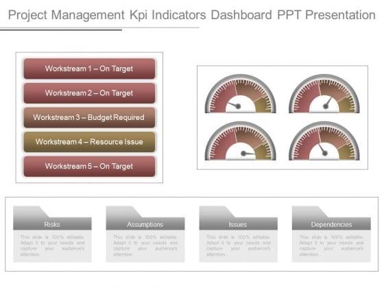 Project Management Kpi Indicators Dashboard Ppt Presentation