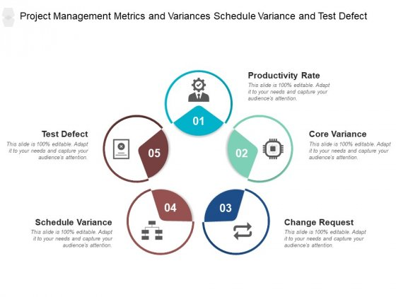 Project Management Metrics And Variances Schedule Variance And Test Defect Ppt PowerPoint Presentation Icon Influencers